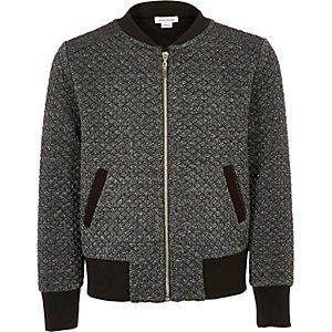 Girls grey metallic bomber jacket