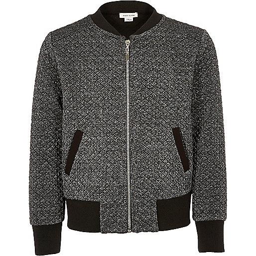 Girls grey metallic bomber jacket