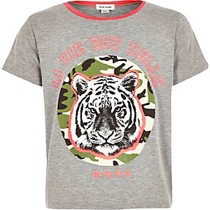 Girls grey tiger print t-shirt