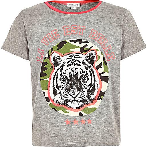 Graues T-Shirt mit Tiger-Print