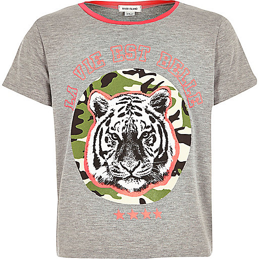Girls grey tiger print t-shirt