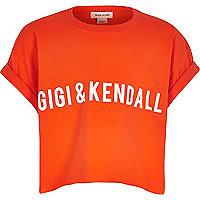 Girls orange slogan t-shirt