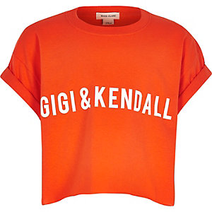 Girls orange slogan t-shirt