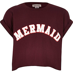 Girls dark red print cropped t-shirt