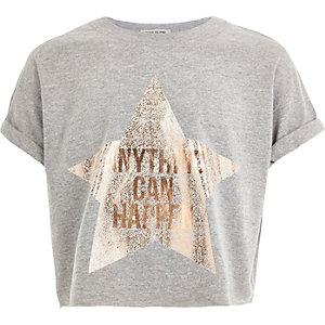 Girls grey star print cropped t-shirt