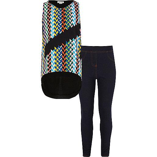 Girls multi print top and leggings outfit