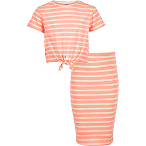 Girls coral stripe top and skirt outfit