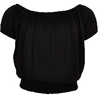 Girls black cropped bardot top