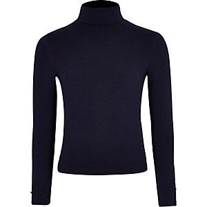 Girls navy roll neck top