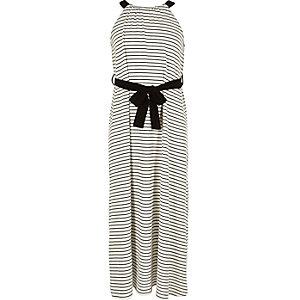 Girls white and black stripe maxi dress