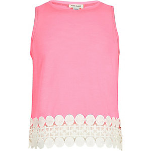 Girls pink crochet hem tank top