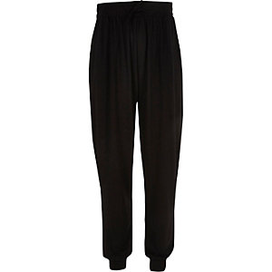 Girls black harem joggers