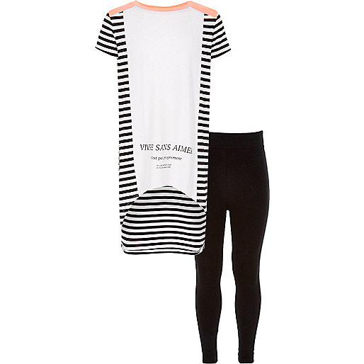 Girls white longline top and leggings outfit