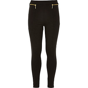 Girls black zip leggings