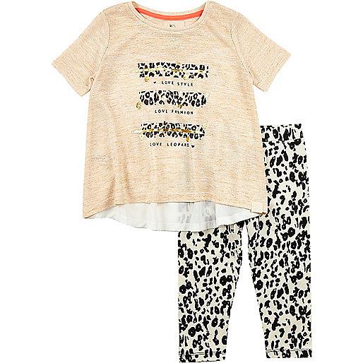 Ensemble avec leggings imprimé léopard pour mini fille