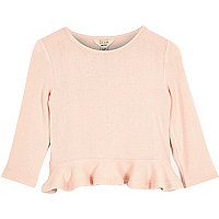 Mini girls pink peplum top