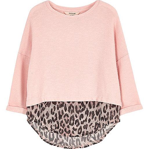 Mini girls pink leopard print layered top
