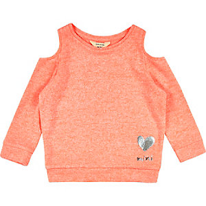 Mini girls orange cold shoulder top