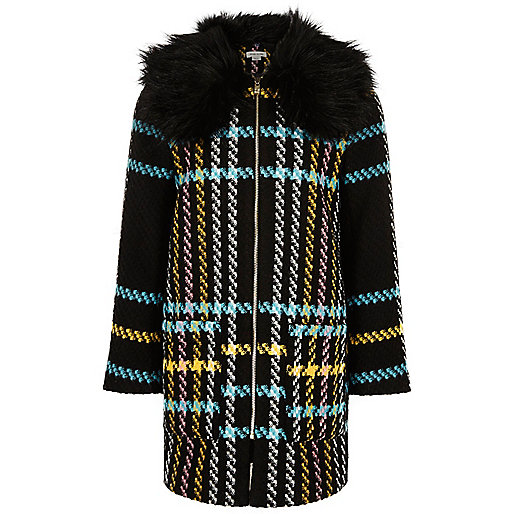Girls black checked faux fur collar coat