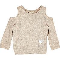 Mini girls oatmeal cold shoulder top