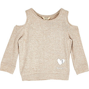 Mini girls oatmeal cold shoulder top