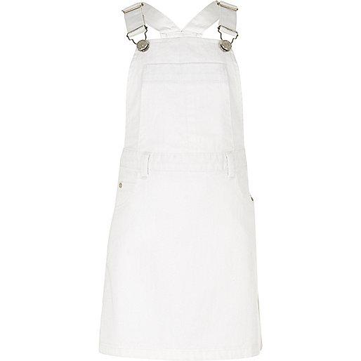 Girls white dungaree dress