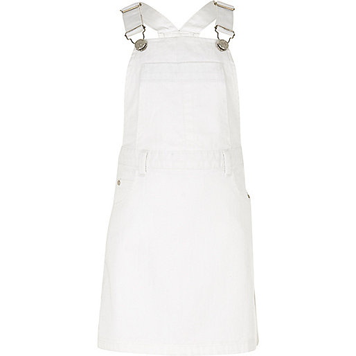 Girls white overall dress