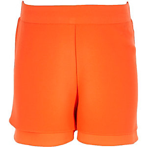 Girls orange double layer shorts