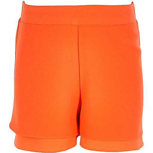 Short double épaisseur orange pour fille