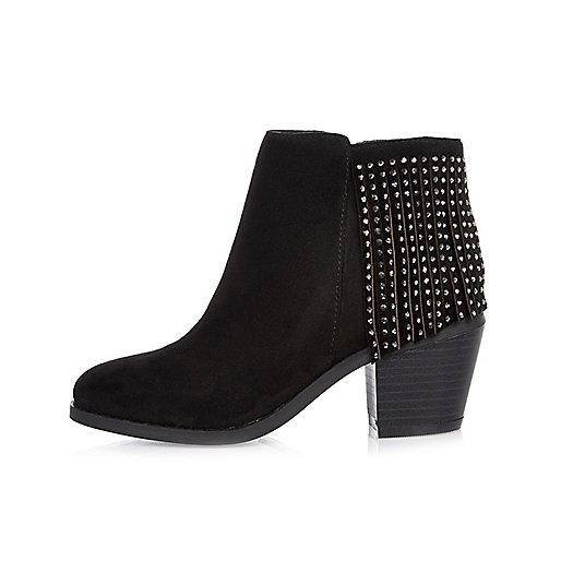 Girls black fringed Western boots