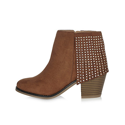Bottines style western marron à franges pour fille