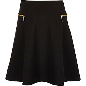 Girls black ribbed flippy skirt