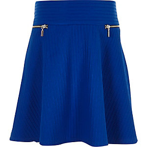 Girls bright blue ribbed skater skirt