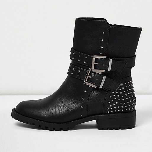 Schwarze Biker-Stiefel mit Schnalle