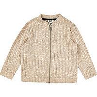 Mini girls oatmeal cotton bomber jacket