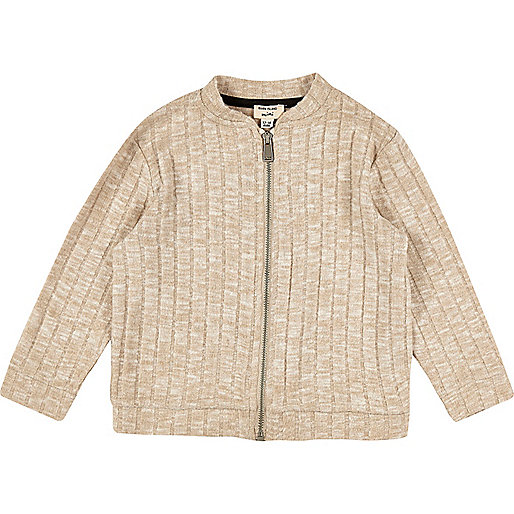 Mini girls oatmeal cotton bomber jacket