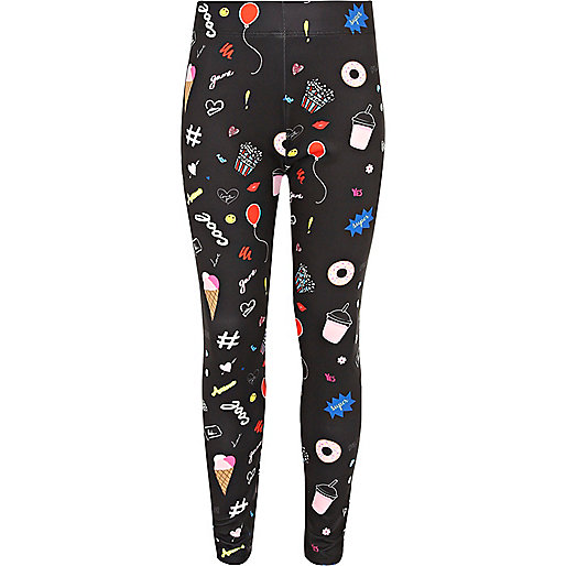 Girls black ice cream print leggings