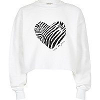 Girls white zebra heart cropped sweatshirt