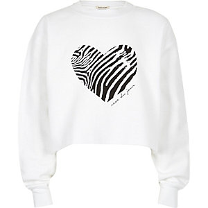 Girls white zebra heart cropped sweatshirt