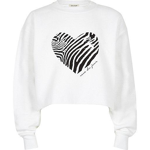 Weißes, kurzes Sweatshirt mit Zebra- und Herzmuster