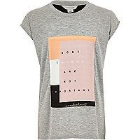 Girls grey woven patch t-shirt