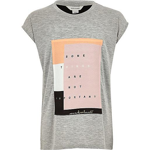 T-shirt gris avec empiècement tissé pour fille