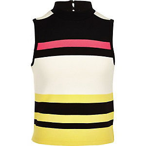 Girls white fluro stripe top