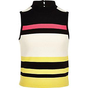 Girls white fluro stripe top