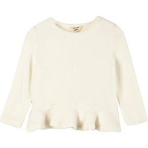 Mini girls cream peplum top