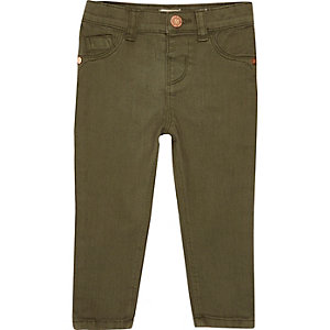Mini girls khaki green skinny jeans