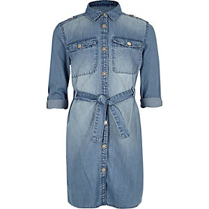Girls blue wash denim shirt dress