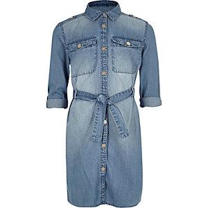Robe chemise en jean délavage bleu pour fille