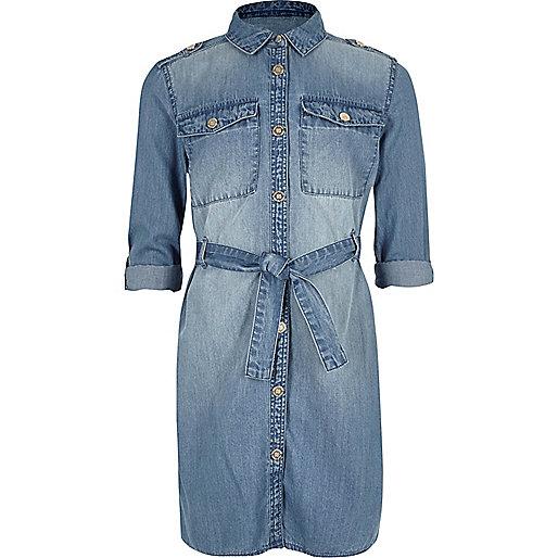 Jeans-Blusenkleid in blauer Waschung