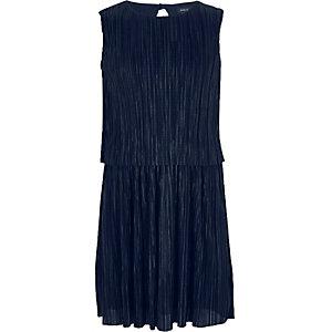 Robe bleu marine à superposition plissée pour fille